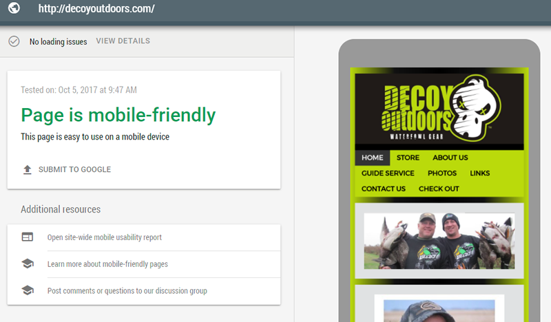 Mobile Friendly Test Example - DecoyOutdoors.com