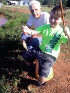 Dad and Jaxon - Oklahoma Red Dirt Pond